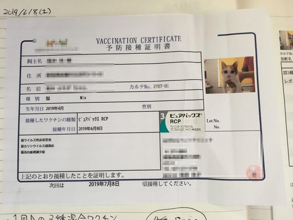 3種混合ワクチン予防接種証明書